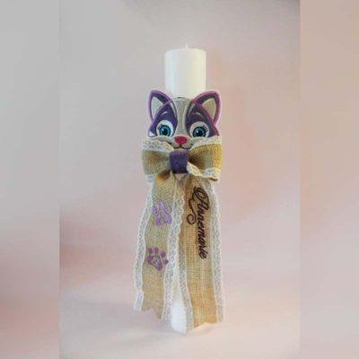 Lumanare botez personalizata Pisica