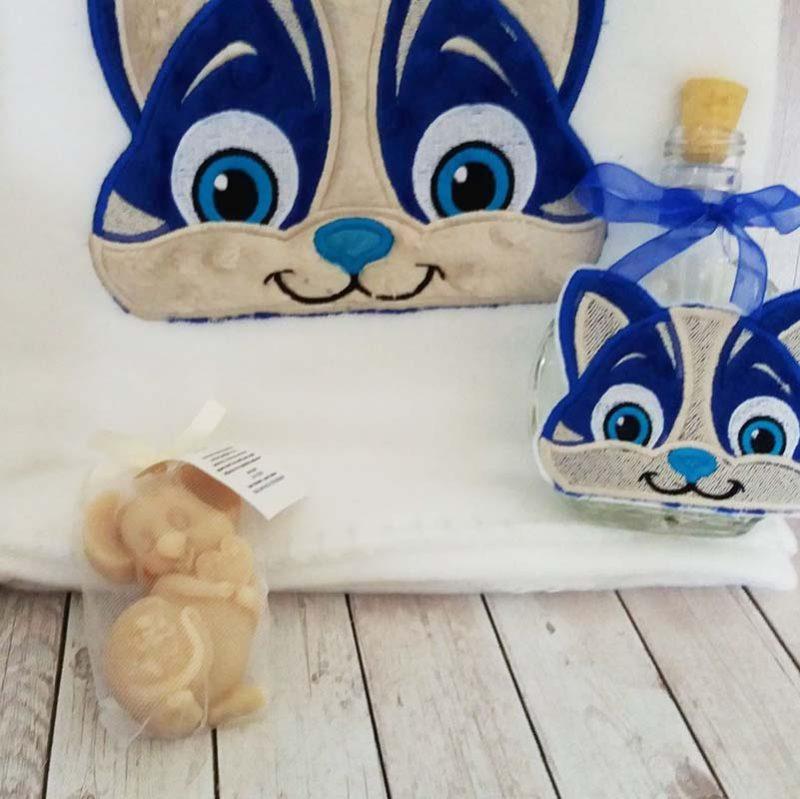 Trusou botez personalizat Pisica baietel