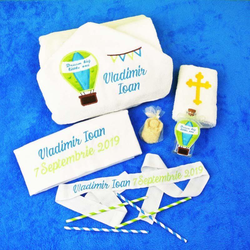 Trusou botez personalizat Balon cu aer cald