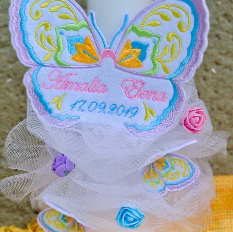 Lumanare botez personalizata fluturele dantelat